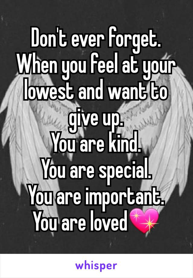 Don't ever forget. When you feel at your lowest and want to give up. You are kind. You are special. You are important. You are loved💖