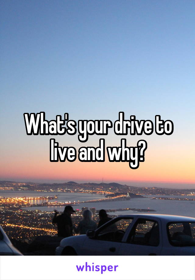 What's your drive to live and why?