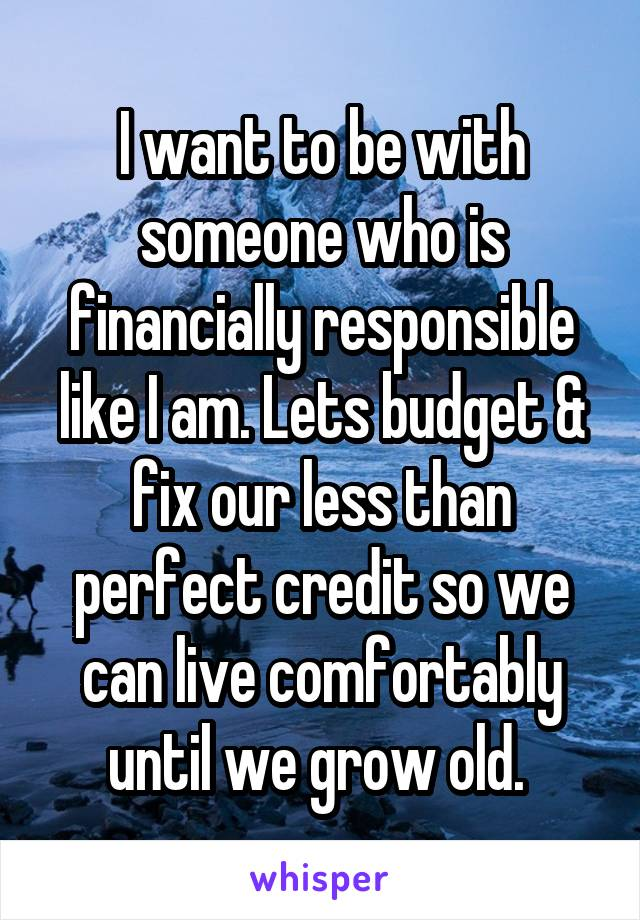I want to be with someone who is financially responsible like I am. Lets budget & fix our less than perfect credit so we can live comfortably until we grow old.
