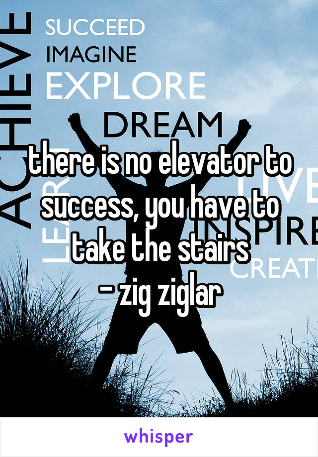 there is no elevator to success, you have to take the stairs - zig ziglar
