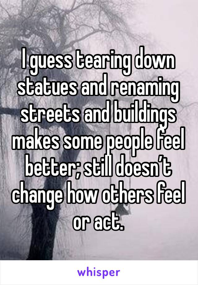 I guess tearing down statues and renaming streets and buildings makes some people feel better; still doesn't change how others feel or act.