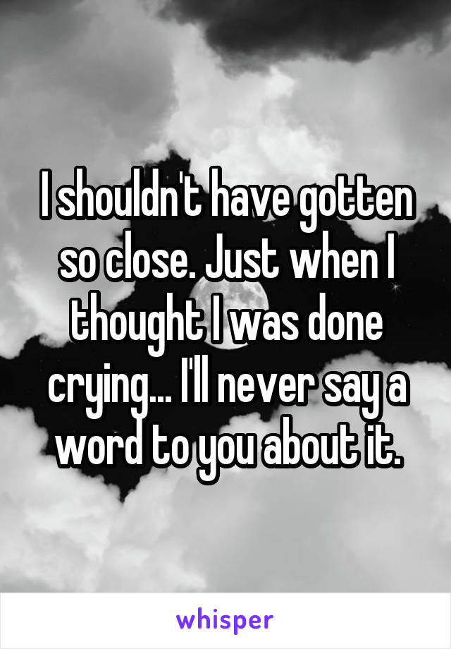 I shouldn't have gotten so close. Just when I thought I was done crying... I'll never say a word to you about it.