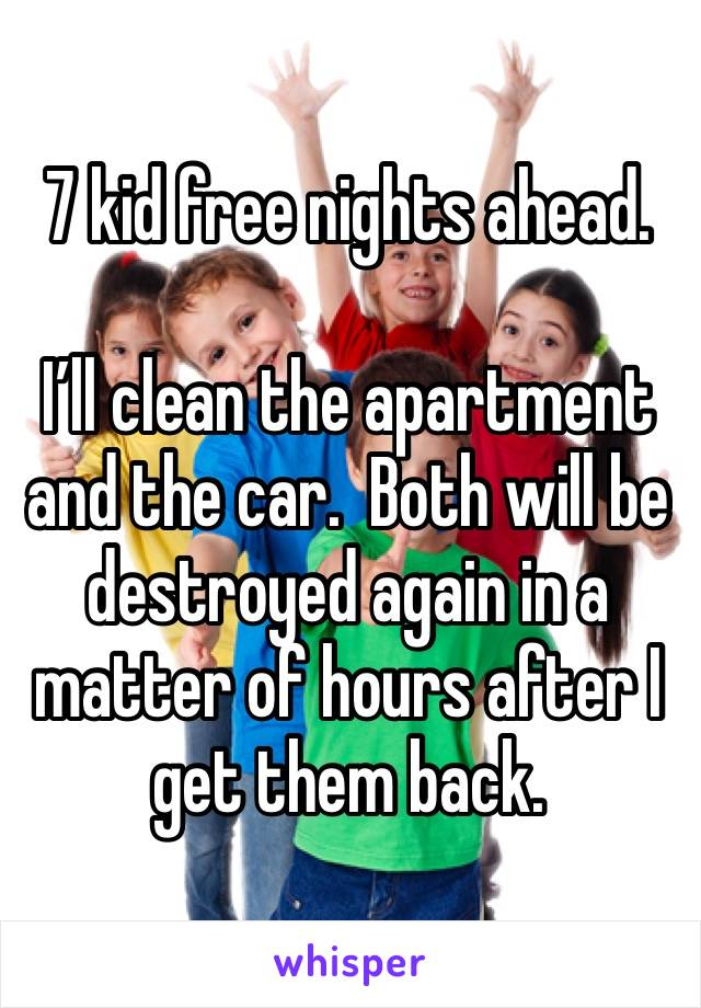 7 kid free nights ahead.  I'll clean the apartment and the car.  Both will be destroyed again in a matter of hours after I get them back.