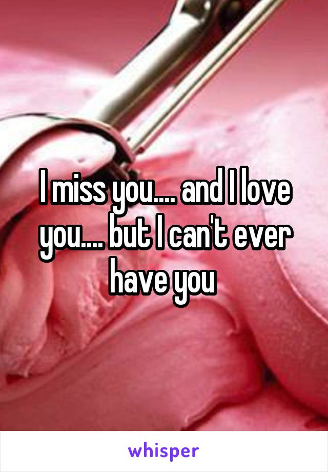 I miss you.... and I love you.... but I can't ever have you