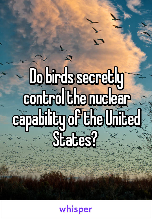 Do birds secretly control the nuclear capability of the United States?
