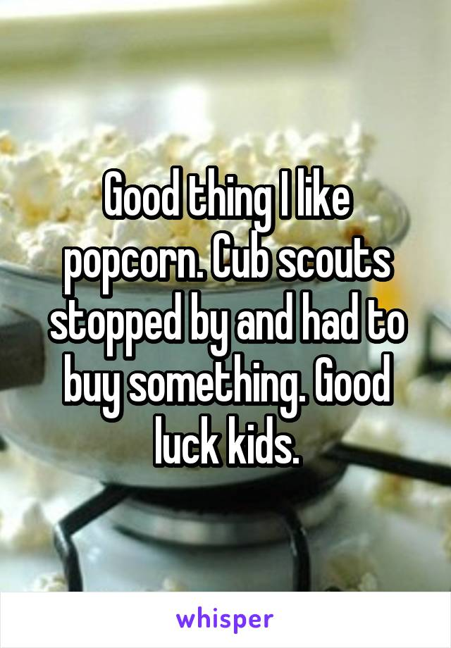 Good thing I like popcorn. Cub scouts stopped by and had to buy something. Good luck kids.