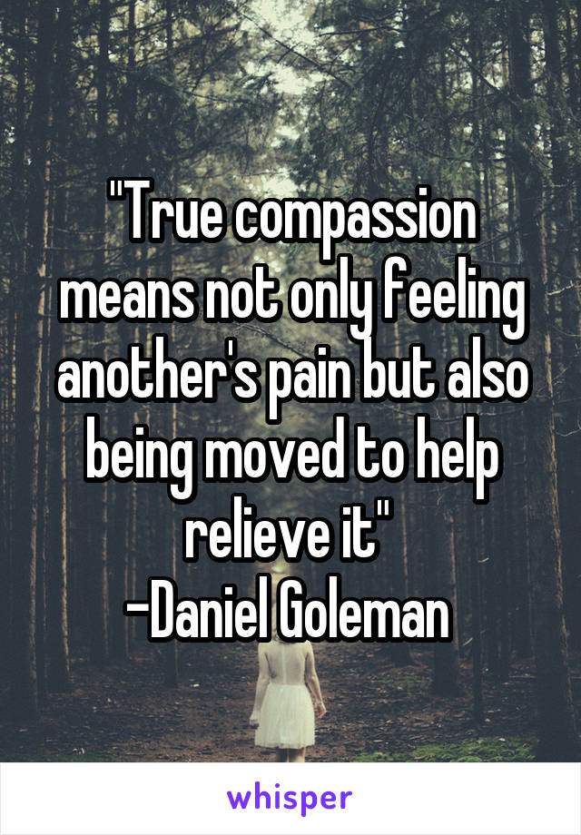 """""""True compassion means not only feeling another's pain but also being moved to help relieve it""""  -Daniel Goleman"""