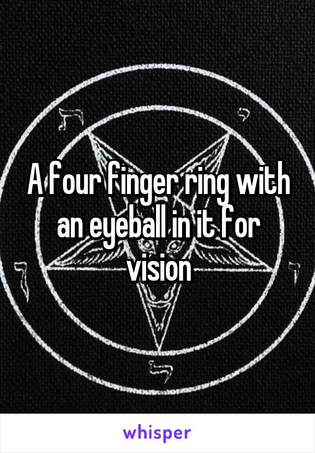 A four finger ring with an eyeball in it for vision
