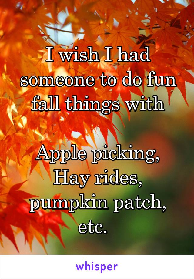 I wish I had someone to do fun fall things with  Apple picking, Hay rides, pumpkin patch, etc.