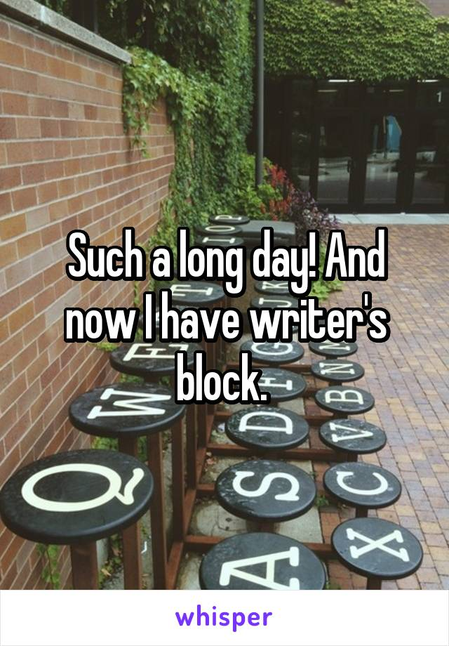 Such a long day! And now I have writer's block.