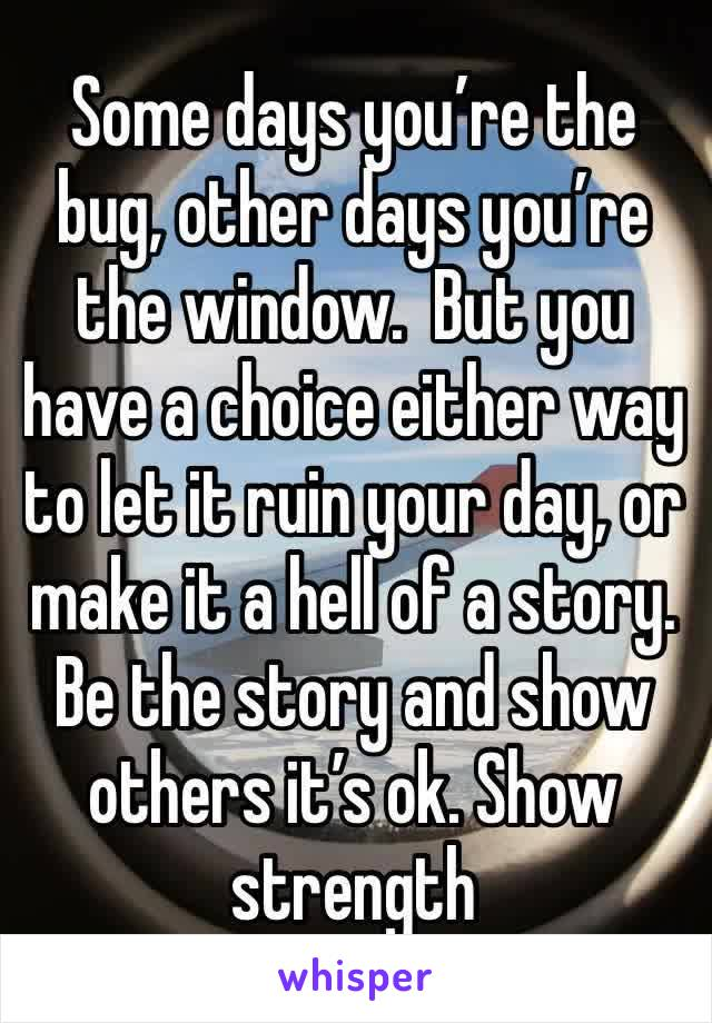 Some days you're the bug, other days you're the window.  But you have a choice either way to let it ruin your day, or make it a hell of a story. Be the story and show others it's ok. Show strength