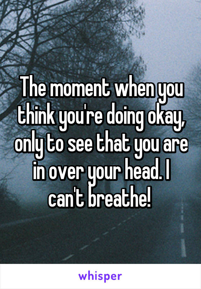 The moment when you think you're doing okay, only to see that you are in over your head. I can't breathe!