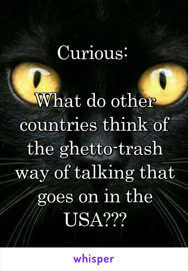 Curious:   What do other countries think of the ghetto-trash way of talking that goes on in the USA???