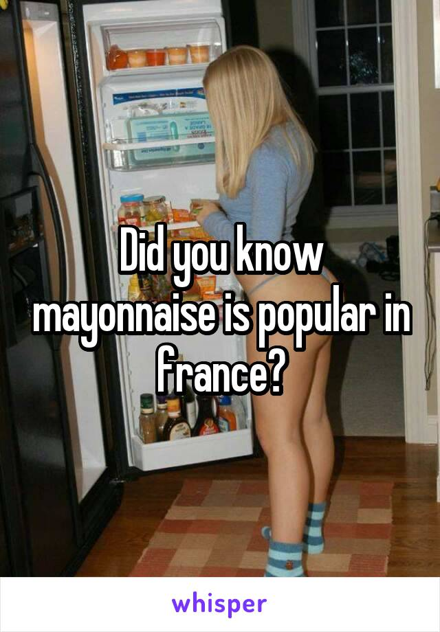 Did you know mayonnaise is popular in france?