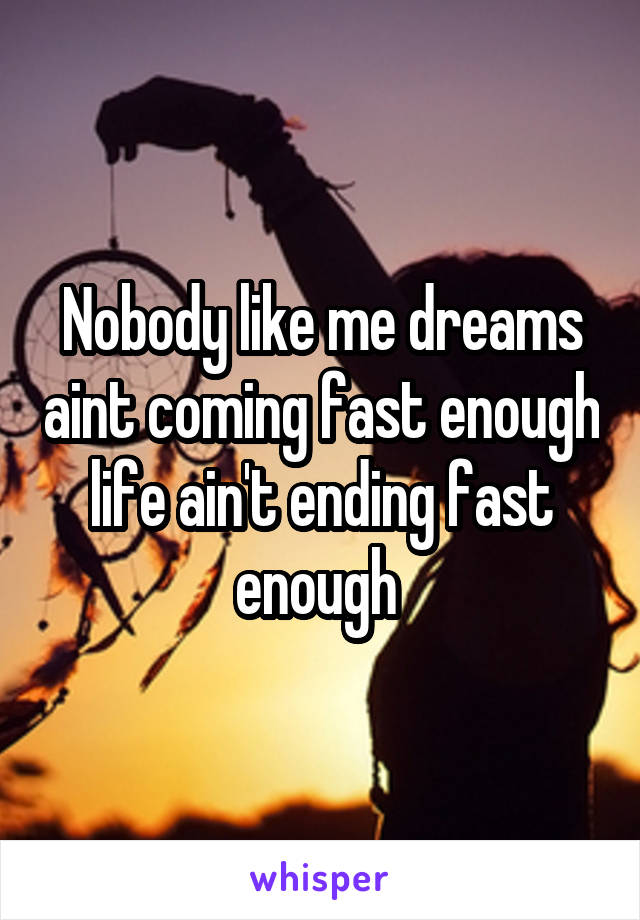 Nobody like me dreams aint coming fast enough life ain't ending fast enough
