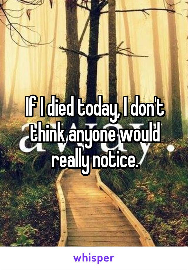 If I died today, I don't think anyone would really notice.