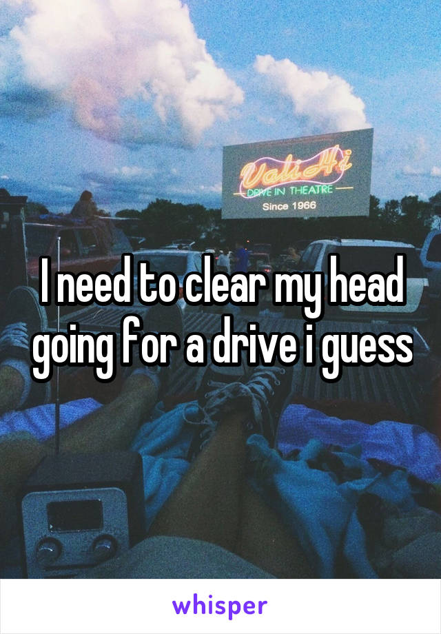 I need to clear my head going for a drive i guess