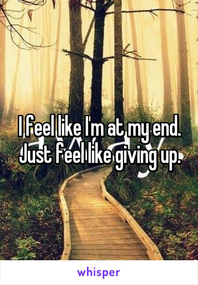 I feel like I'm at my end. Just feel like giving up.
