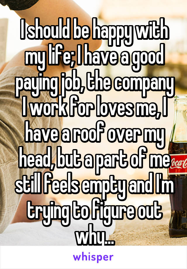 I should be happy with my life; I have a good paying job, the company I work for loves me, I have a roof over my head, but a part of me still feels empty and I'm trying to figure out why...
