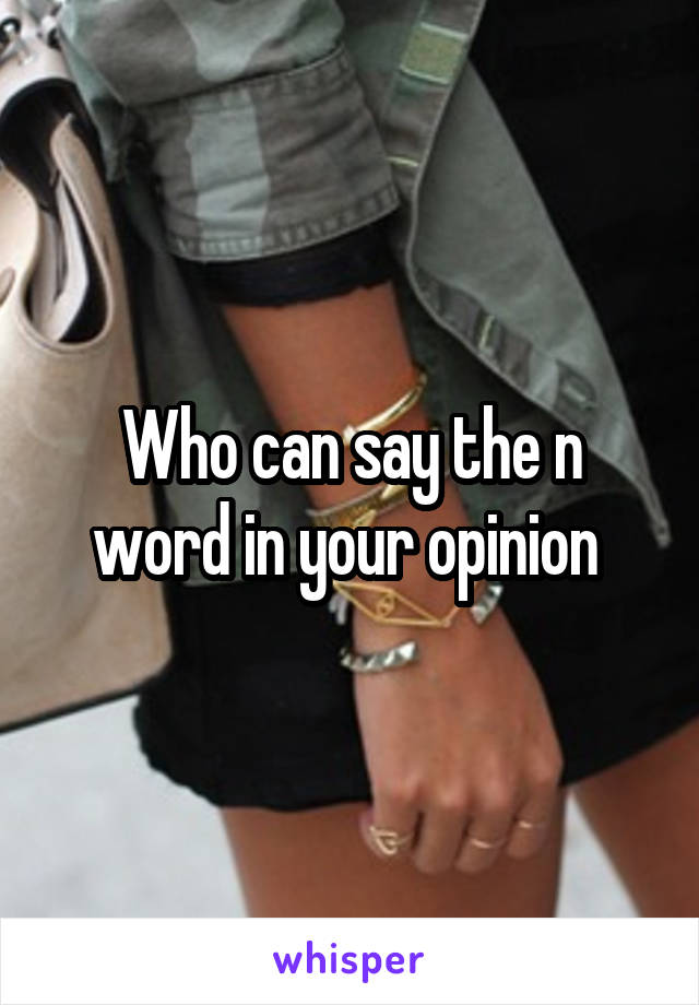 Who can say the n word in your opinion