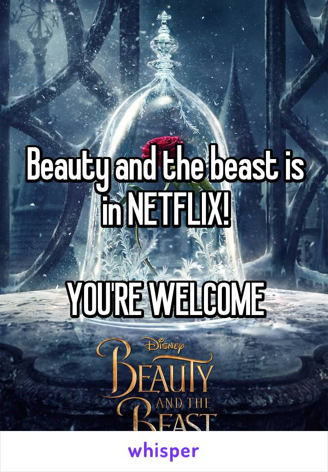 Beauty and the beast is in NETFLIX!  YOU'RE WELCOME