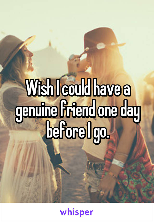 Wish I could have a genuine friend one day before I go.