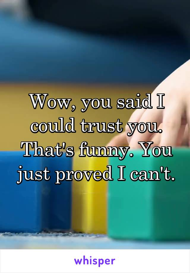 Wow, you said I could trust you. That's funny. You just proved I can't.