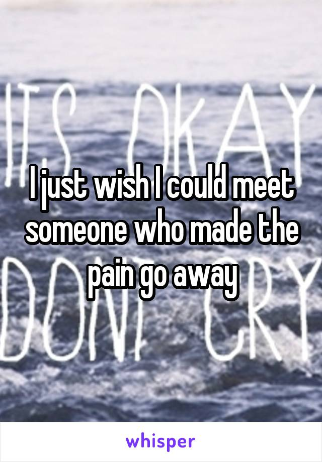 I just wish I could meet someone who made the pain go away