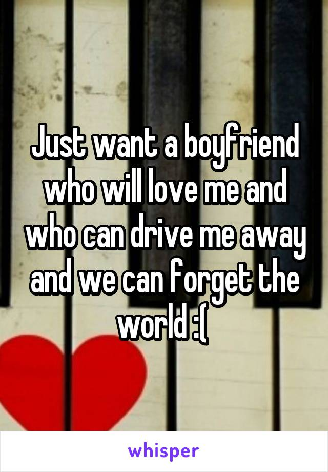 Just want a boyfriend who will love me and who can drive me away and we can forget the world :(