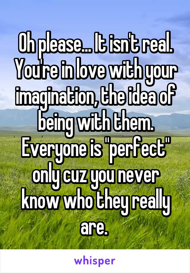 """Oh please... It isn't real. You're in love with your imagination, the idea of being with them. Everyone is """"perfect"""" only cuz you never know who they really are."""