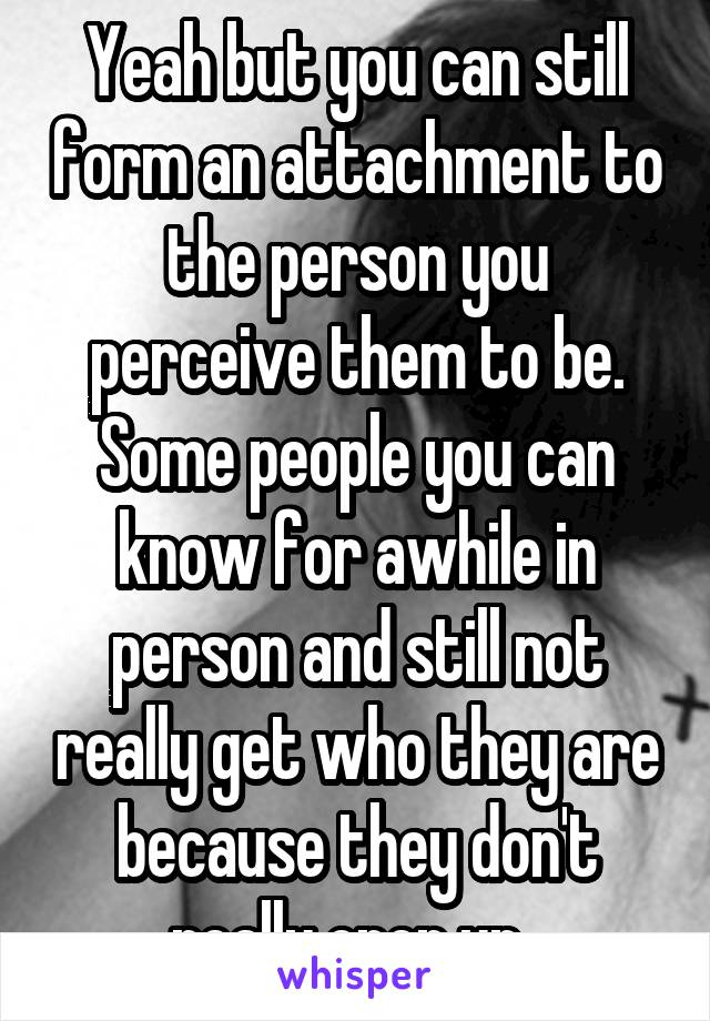 Yeah but you can still form an attachment to the person you perceive them to be. Some people you can know for awhile in person and still not really get who they are because they don't really open up.