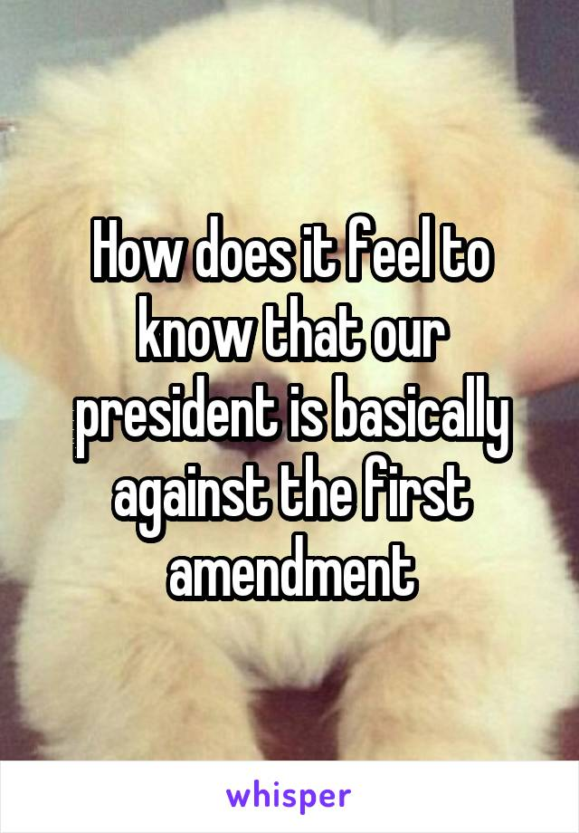 How does it feel to know that our president is basically against the first amendment