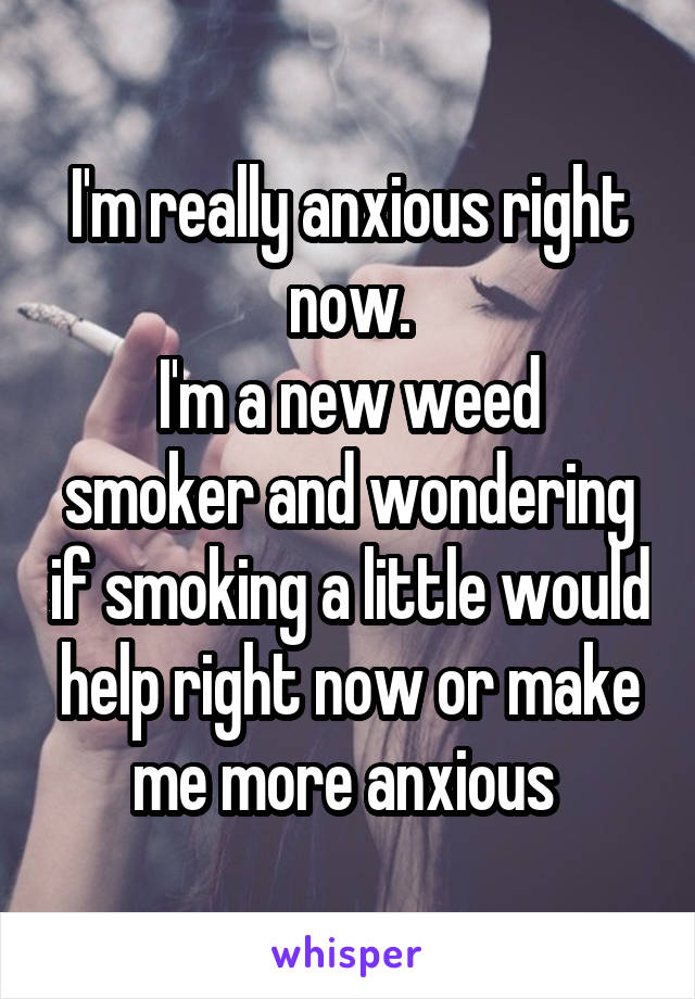 I'm really anxious right now. I'm a new weed smoker and wondering if smoking a little would help right now or make me more anxious