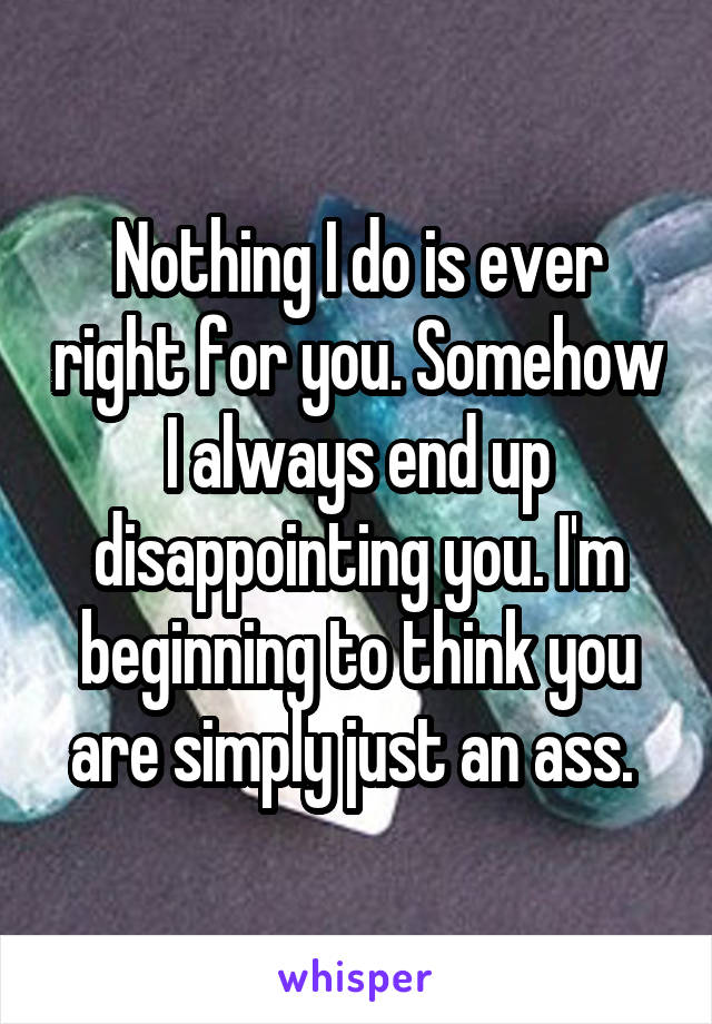 Nothing I do is ever right for you. Somehow I always end up disappointing you. I'm beginning to think you are simply just an ass.