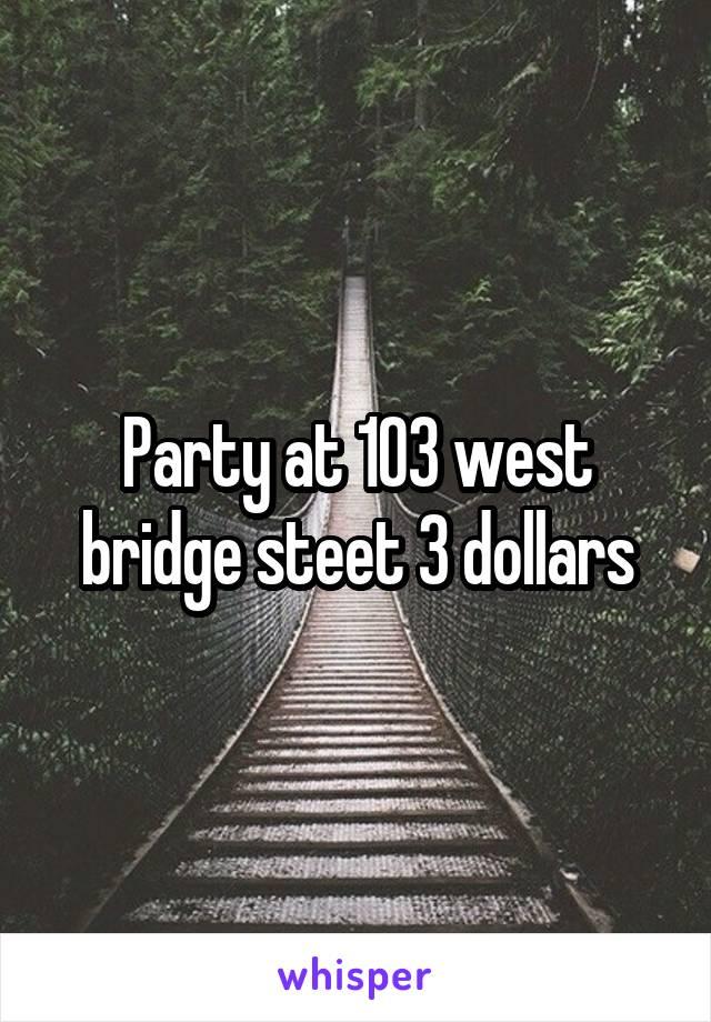 Party at 103 west bridge steet 3 dollars