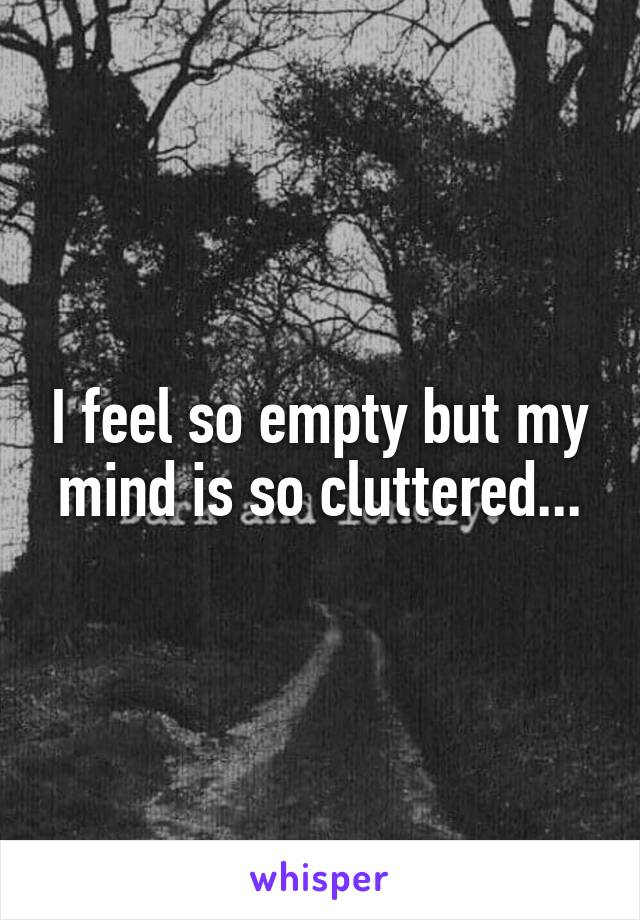 I feel so empty but my mind is so cluttered...