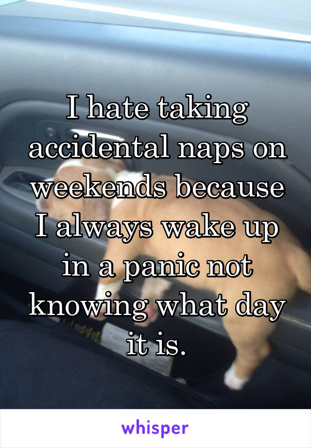 I hate taking accidental naps on weekends because I always wake up in a panic not knowing what day it is.