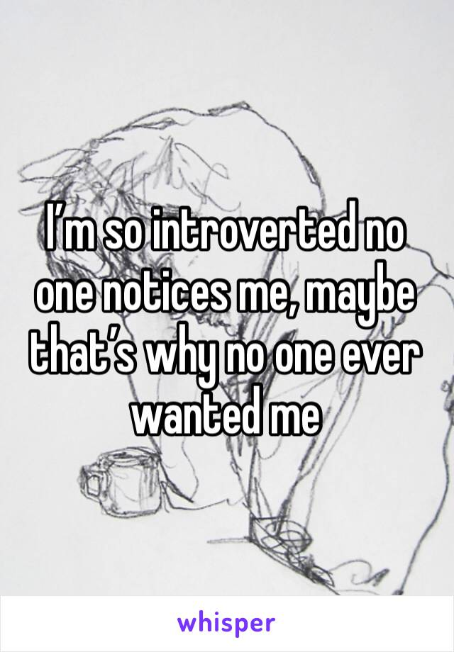 I'm so introverted no one notices me, maybe that's why no one ever wanted me