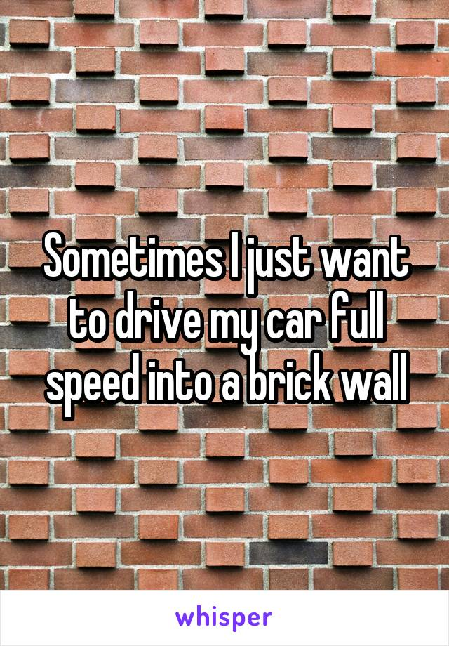 Sometimes I just want to drive my car full speed into a brick wall
