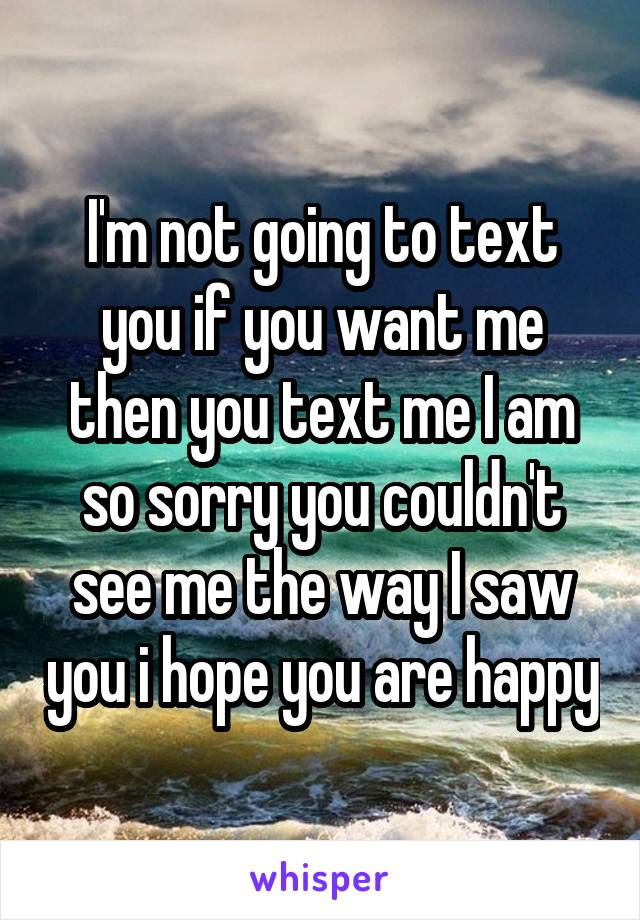 I'm not going to text you if you want me then you text me I am so sorry you couldn't see me the way I saw you i hope you are happy