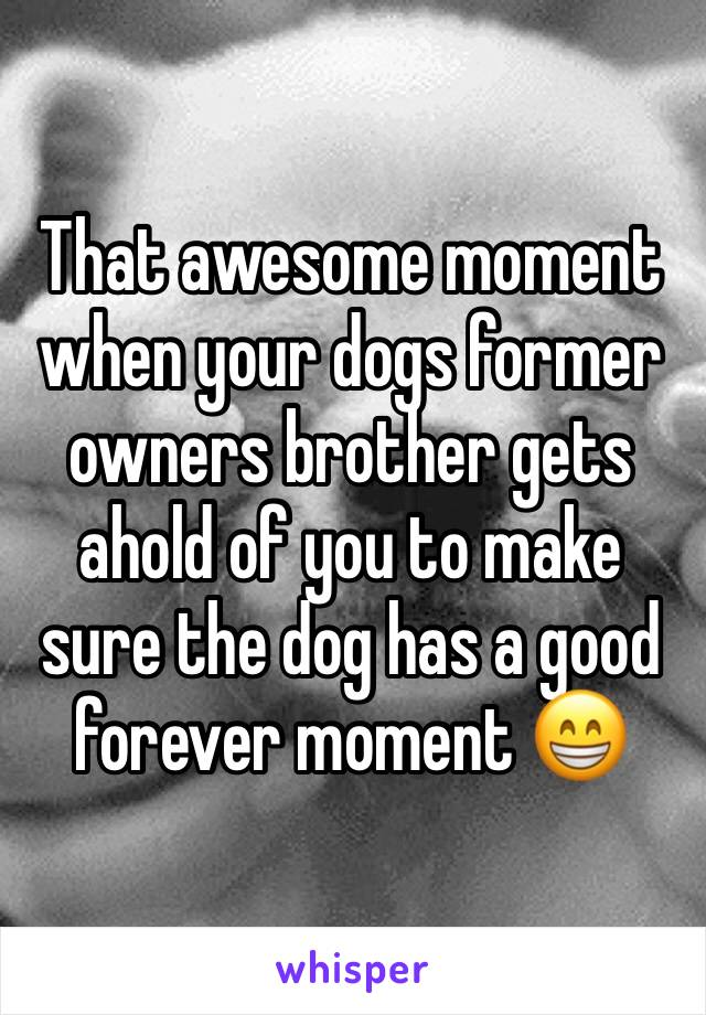 That awesome moment when your dogs former owners brother gets ahold of you to make sure the dog has a good forever moment 😁