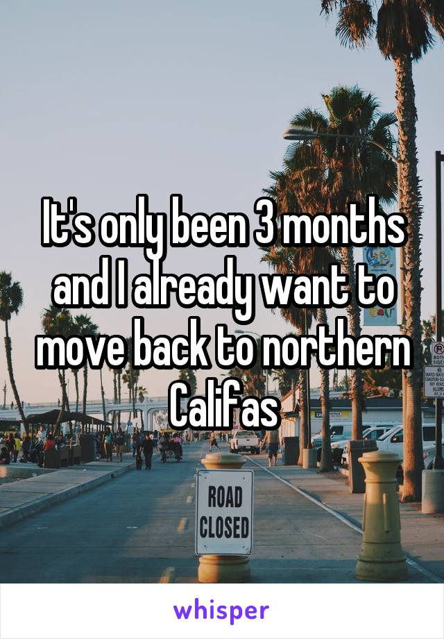 It's only been 3 months and I already want to move back to northern Califas