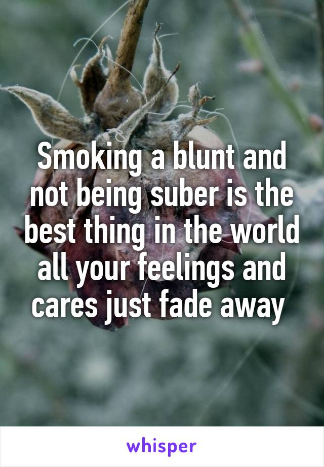 Smoking a blunt and not being suber is the best thing in the world all your feelings and cares just fade away