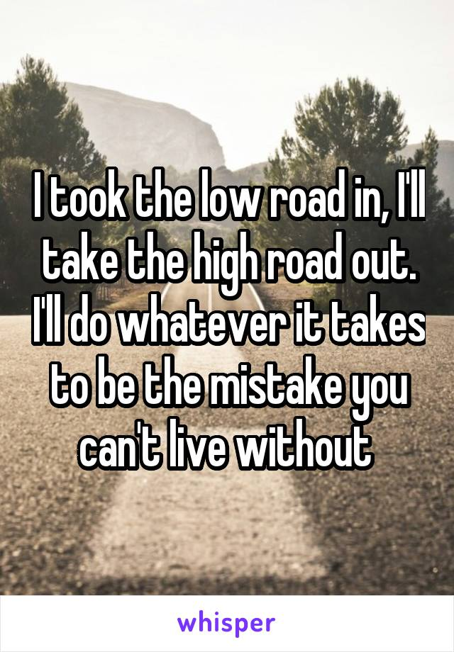 I took the low road in, I'll take the high road out. I'll do whatever it takes to be the mistake you can't live without