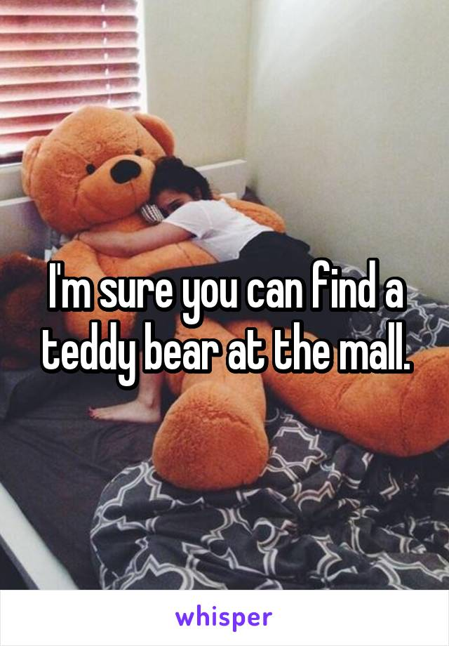 I'm sure you can find a teddy bear at the mall.