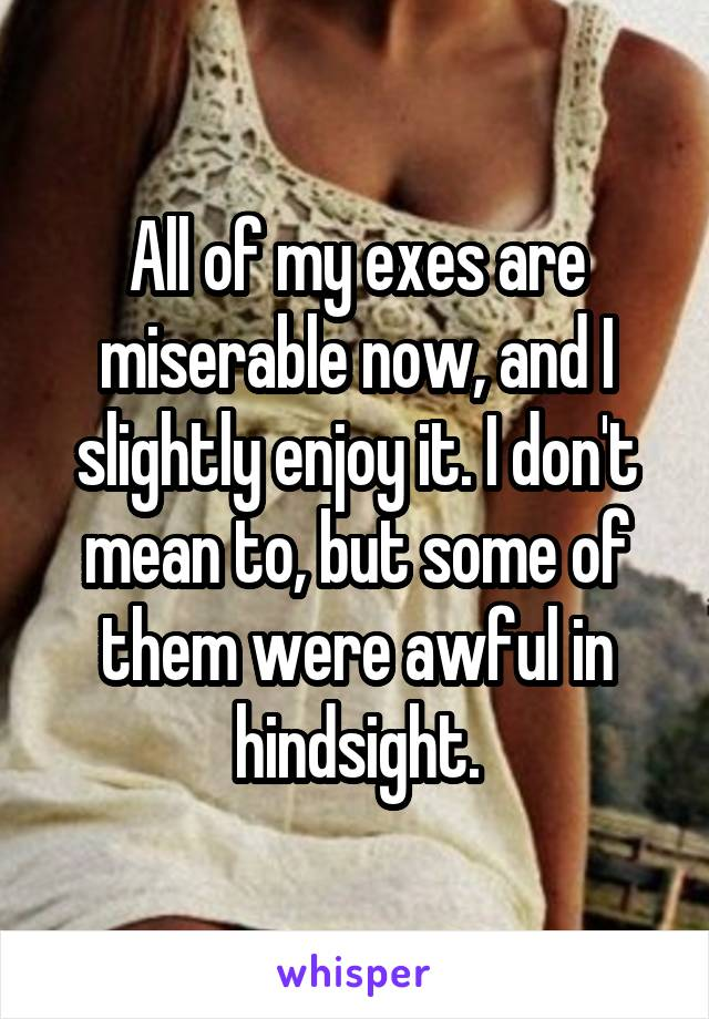 All of my exes are miserable now, and I slightly enjoy it. I don't mean to, but some of them were awful in hindsight.