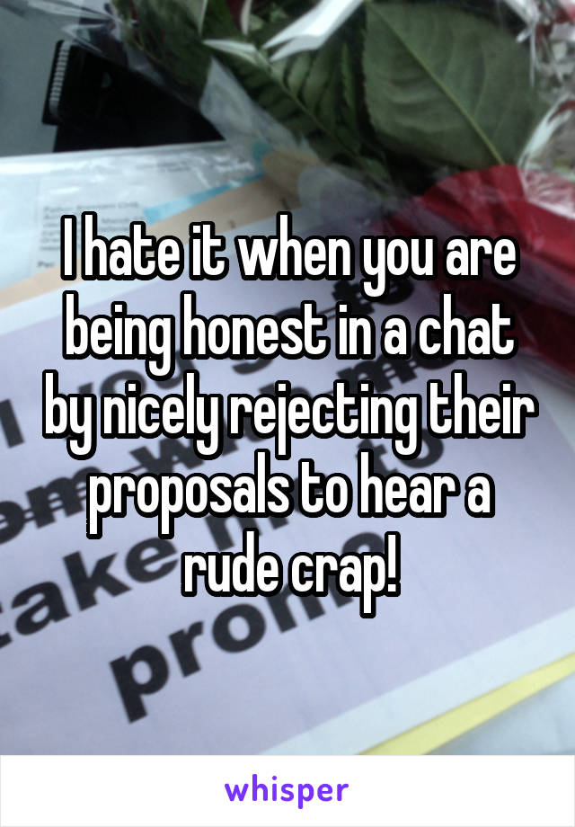 I hate it when you are being honest in a chat by nicely rejecting their proposals to hear a rude crap!