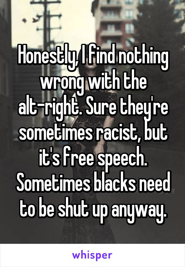 Honestly, I find nothing wrong with the alt-right. Sure they're sometimes racist, but it's free speech. Sometimes blacks need to be shut up anyway.