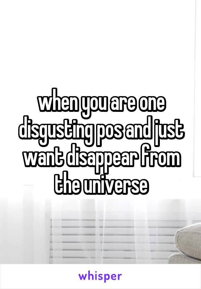 when you are one disgusting pos and just want disappear from the universe