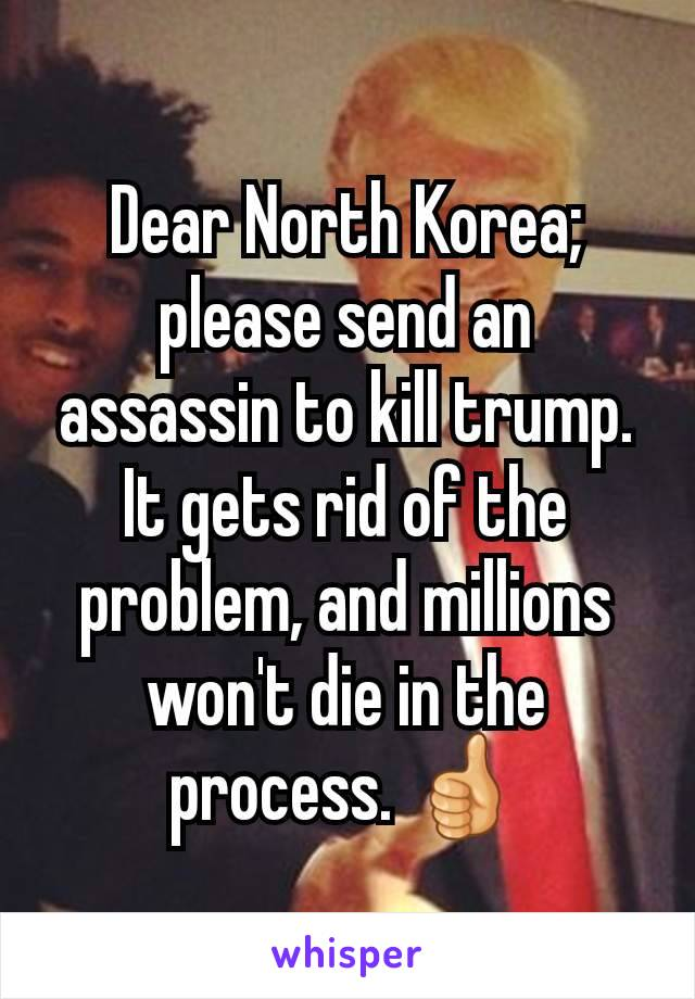 Dear North Korea; please send an assassin to kill trump. It gets rid of the problem, and millions won't die in the process. 👍